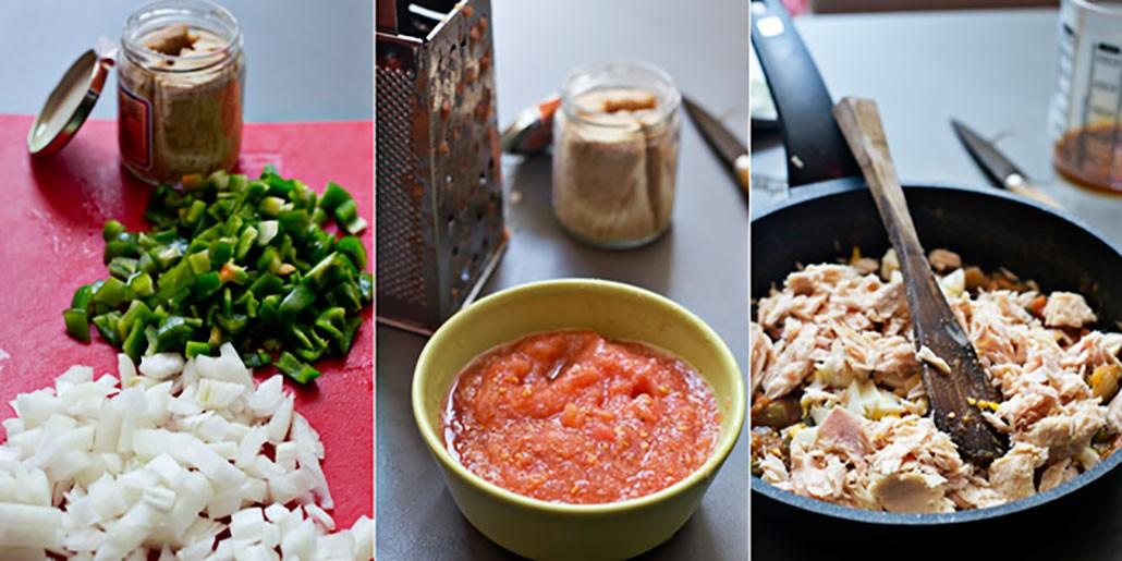 Empanada de bonito preparar el relleno