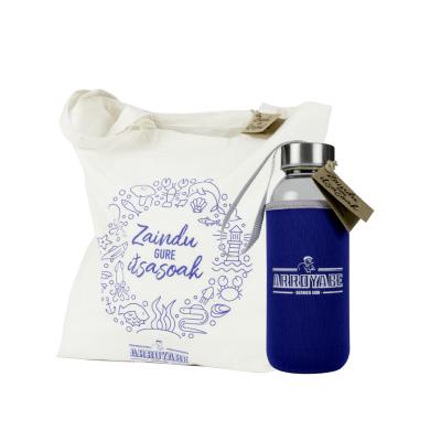Pack bolsa tela botella cristal